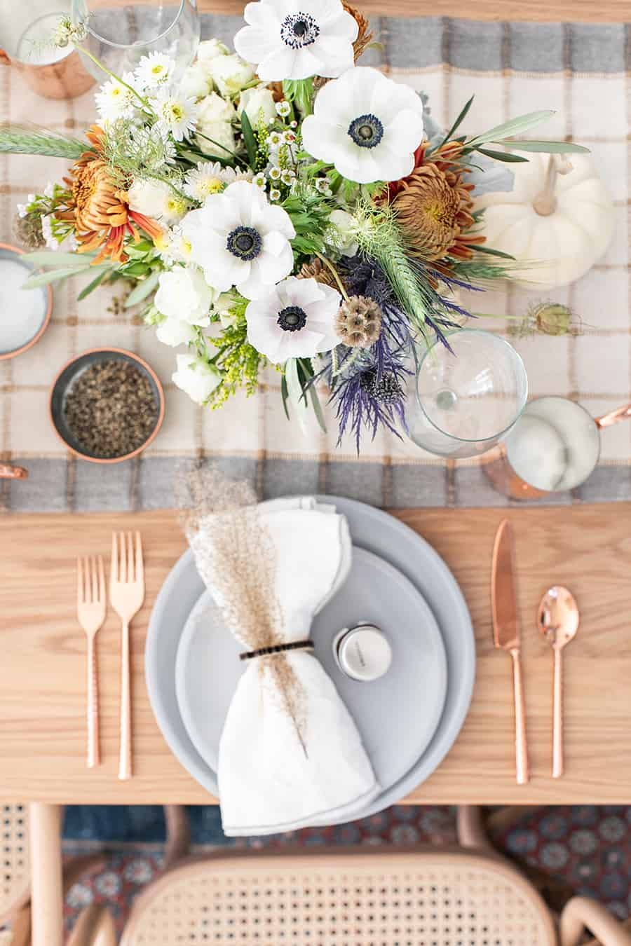Overhead of a modern Thanksgiving table setting.