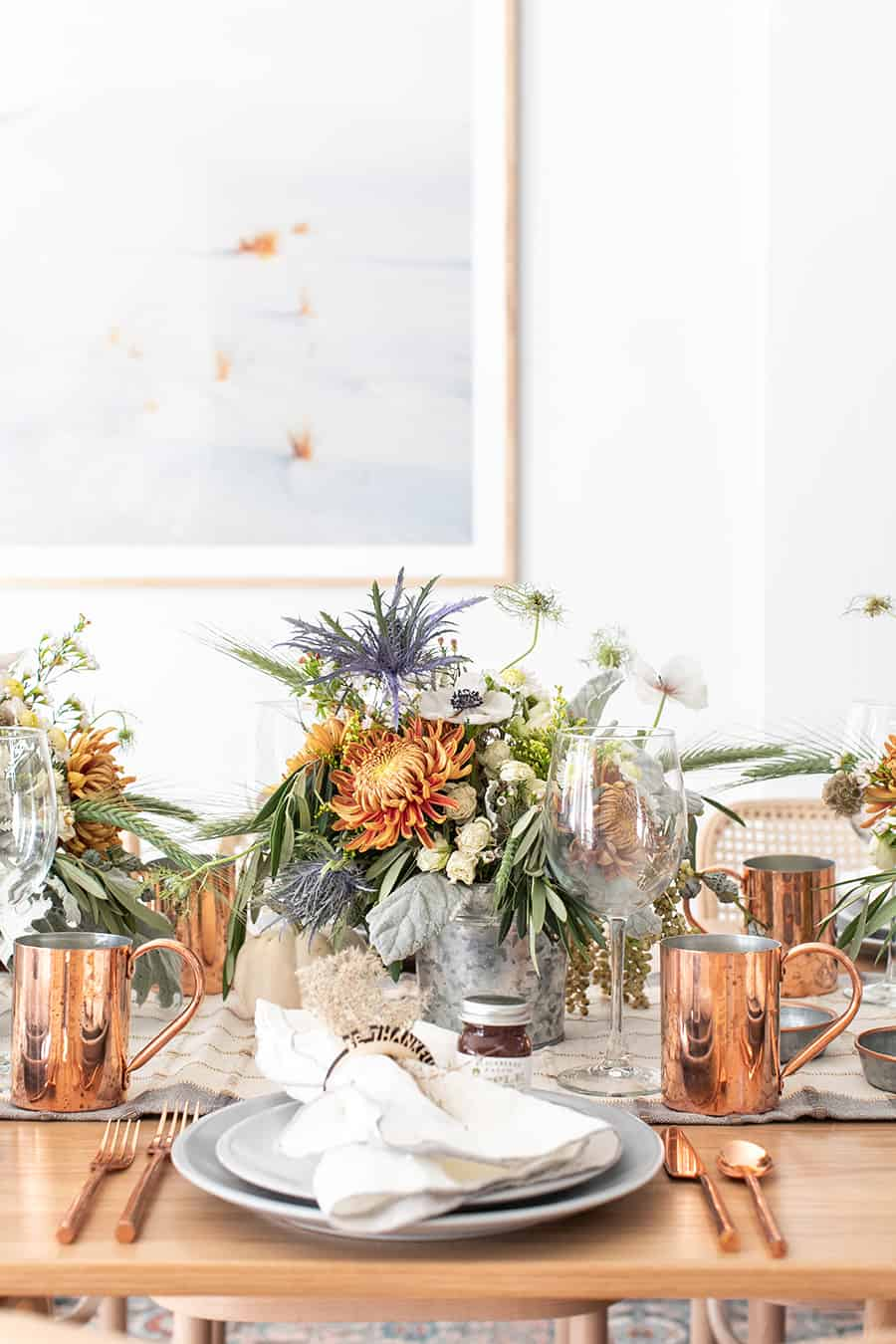 Beautiful Thanksgiving table setting with copper and galvanized buckets