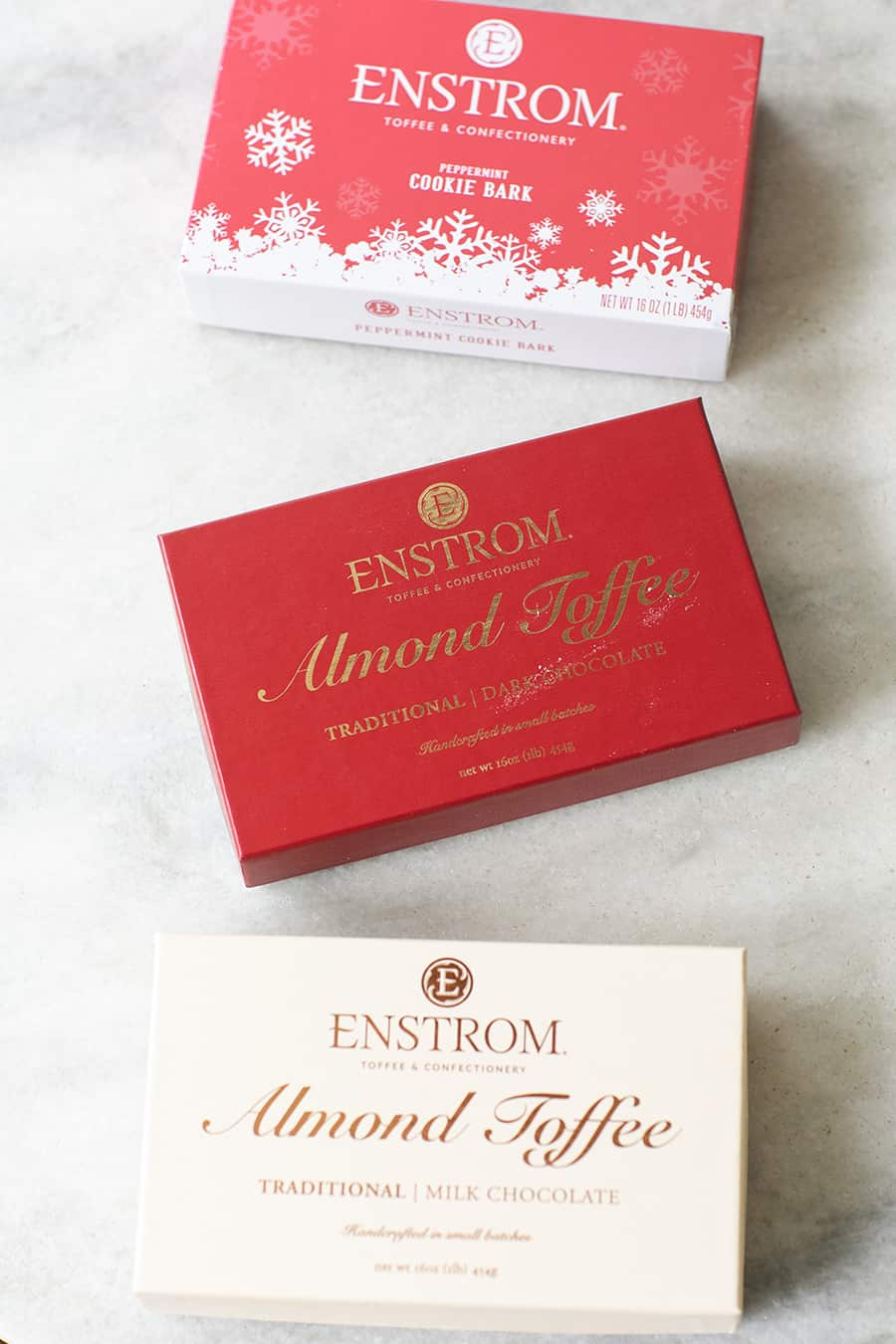 top down shot of boxes of enstrom toffees