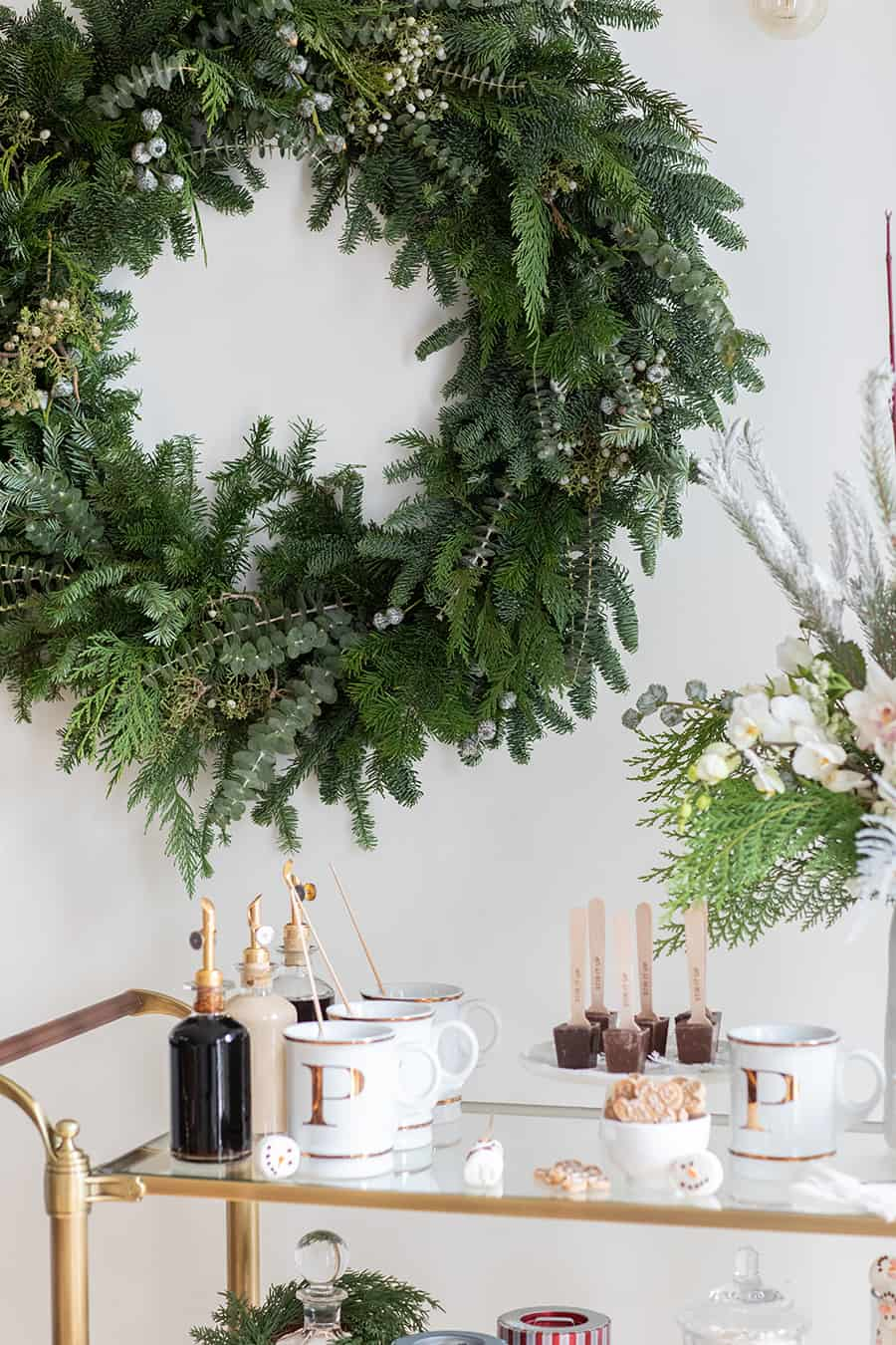 Holiday wreath and How to Create a Holiday Hot Chocolate Bar