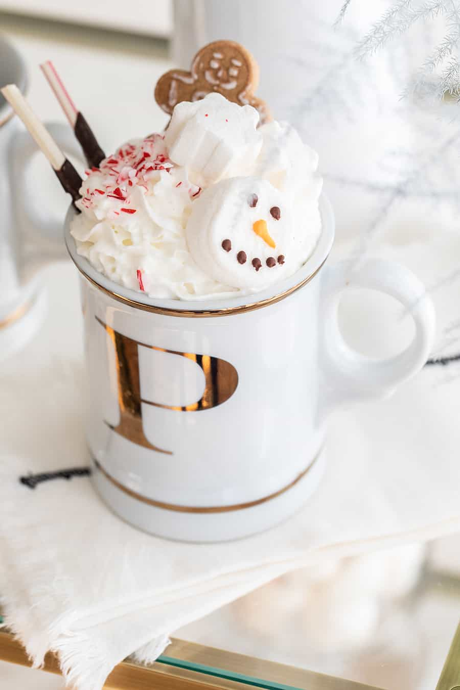 Hot chocolate topped with marshmallows, cookies and candy cane