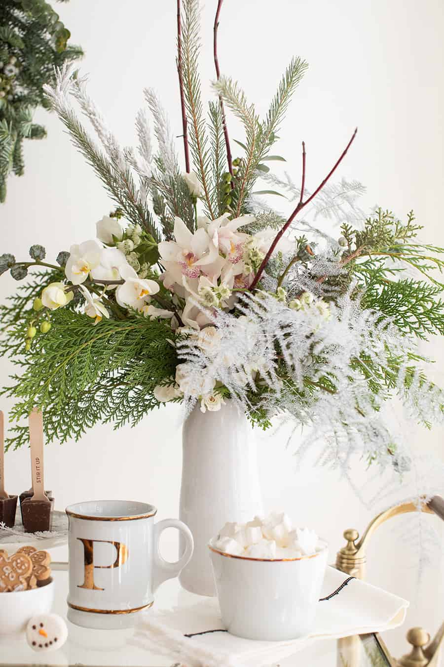 Winter floral arrangements