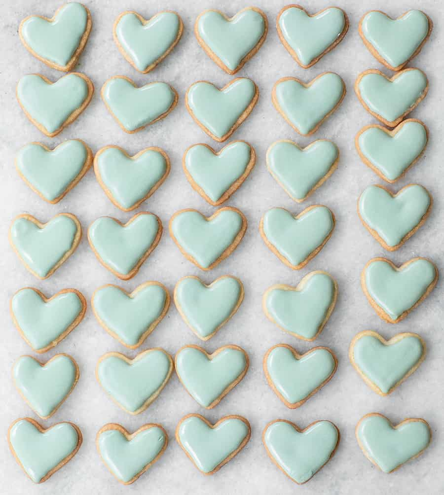 tiffany blue heart shaped sugar cookies