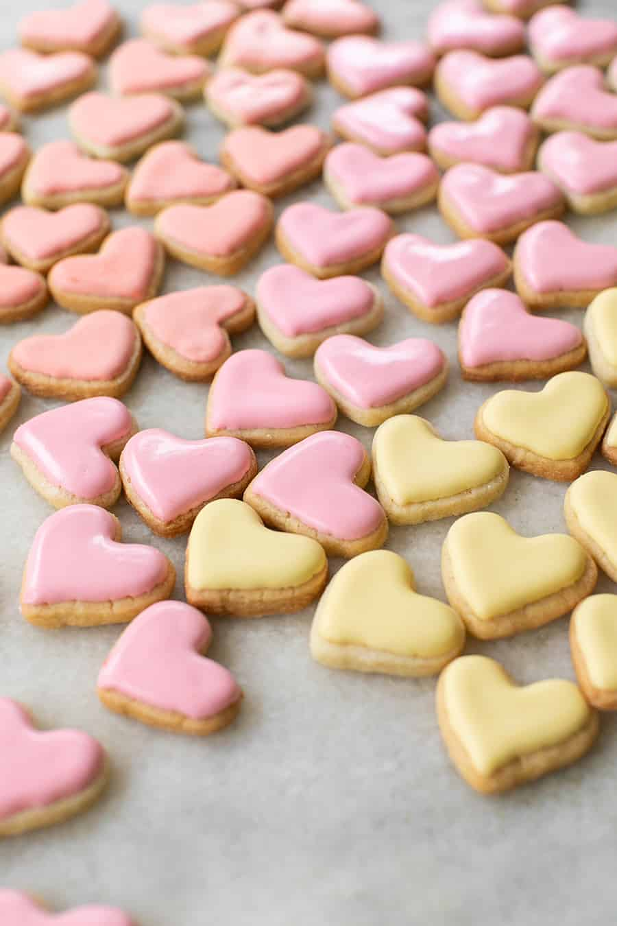 mini pink and yellow heart shaped sugar cookies