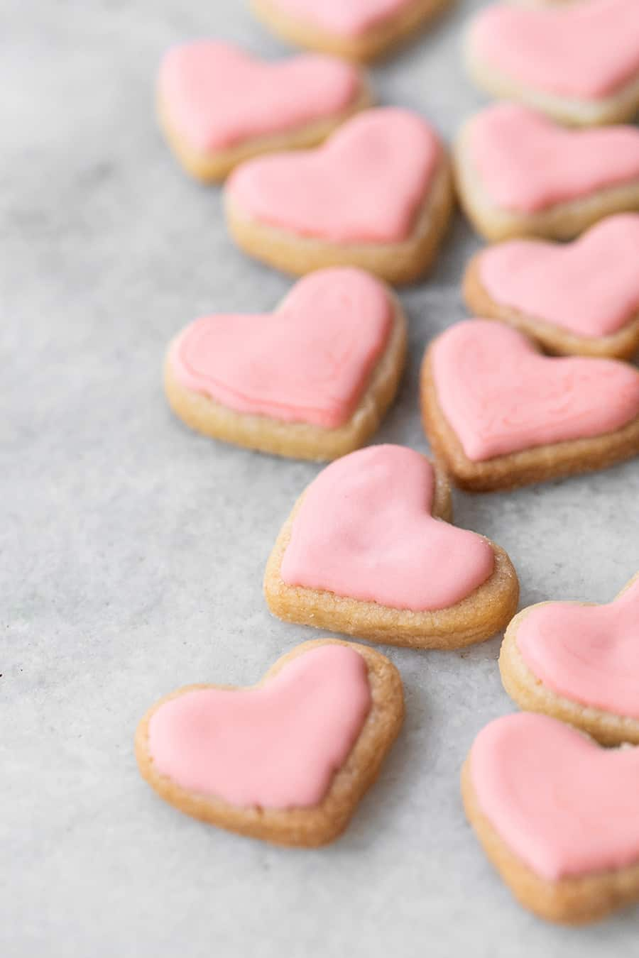 pink sugar heart shaped sugar cookies