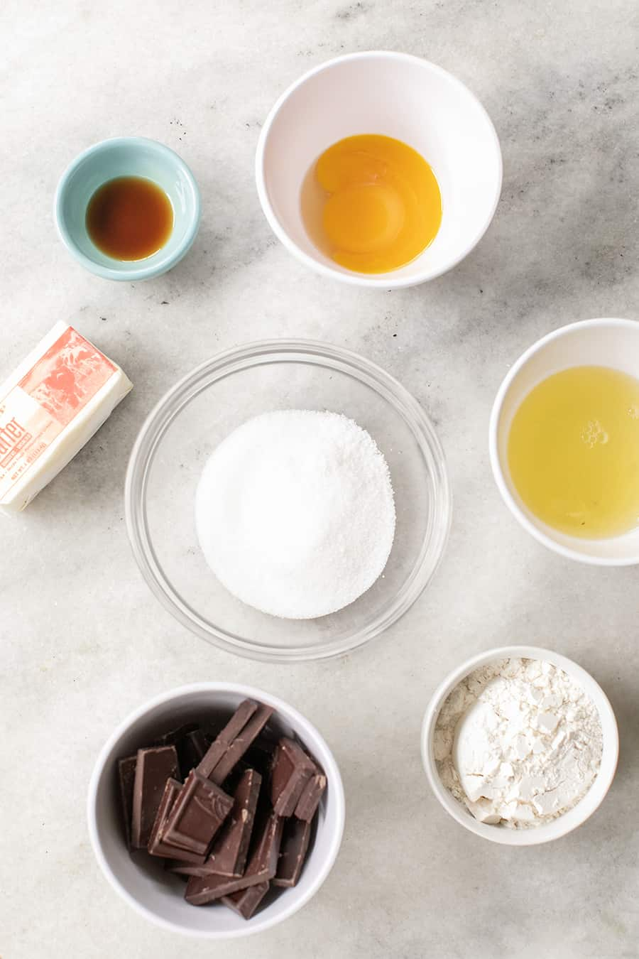 Ingredients for a chocolate souffle recipe