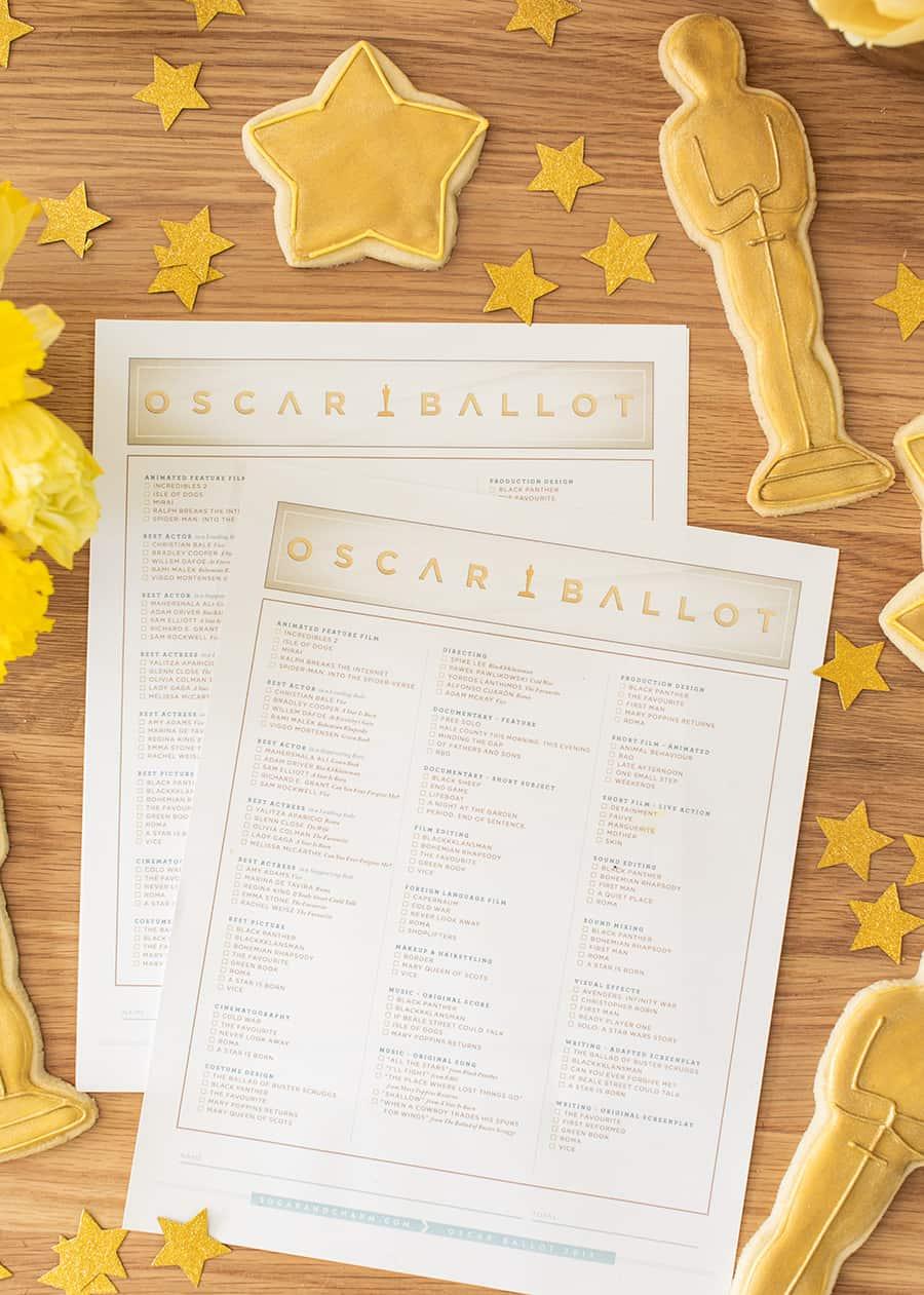 Oscar Party Printable Ballot