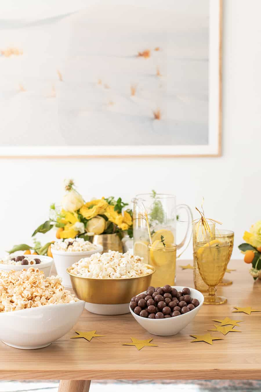 Popcorn and candy in bowls for an Oscar party