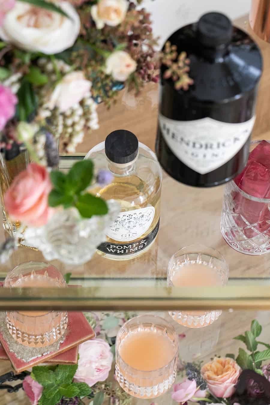 Gin on a gold bar for a Gin and Flower Bar