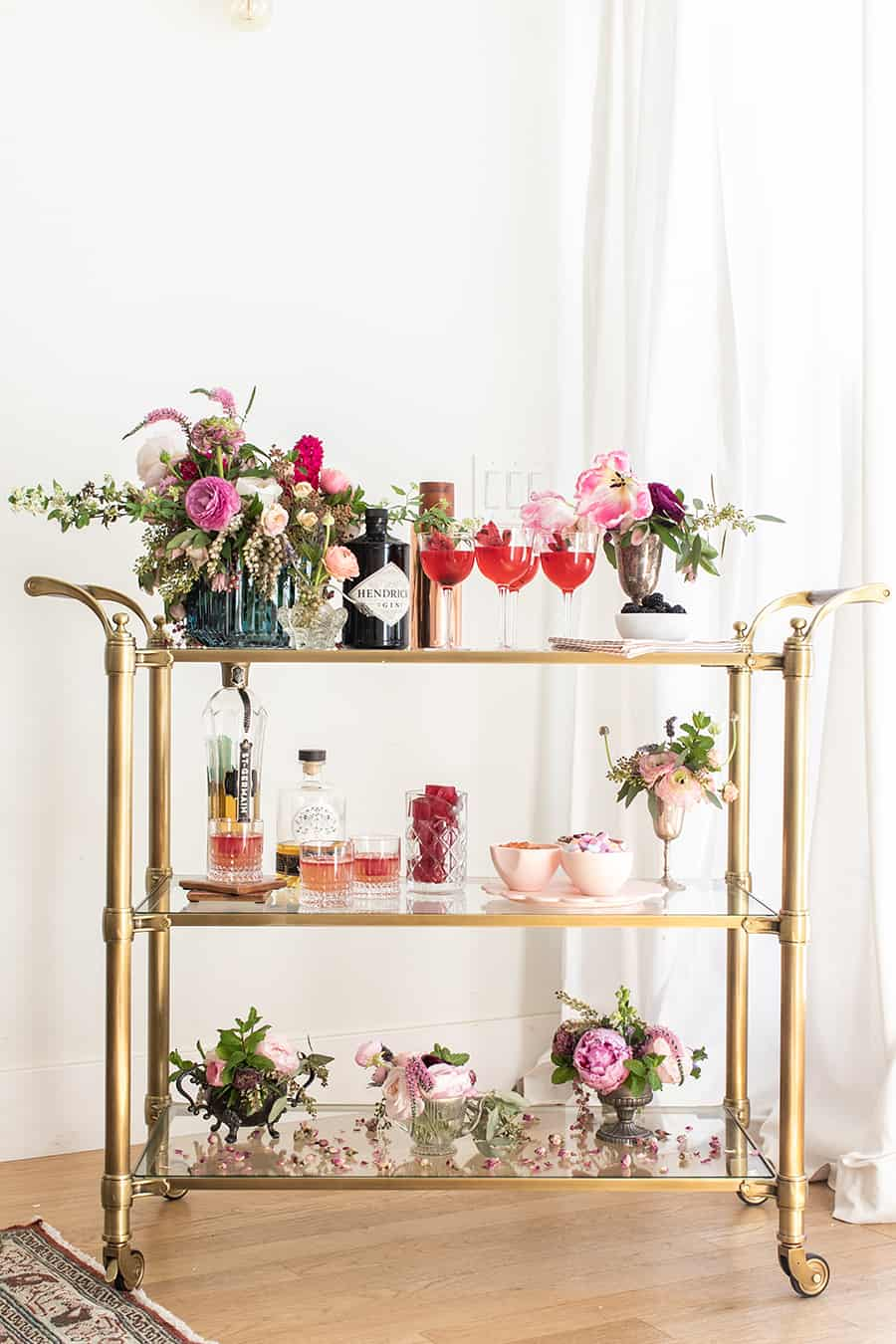 Full Gin and Flower Bar with charming details.