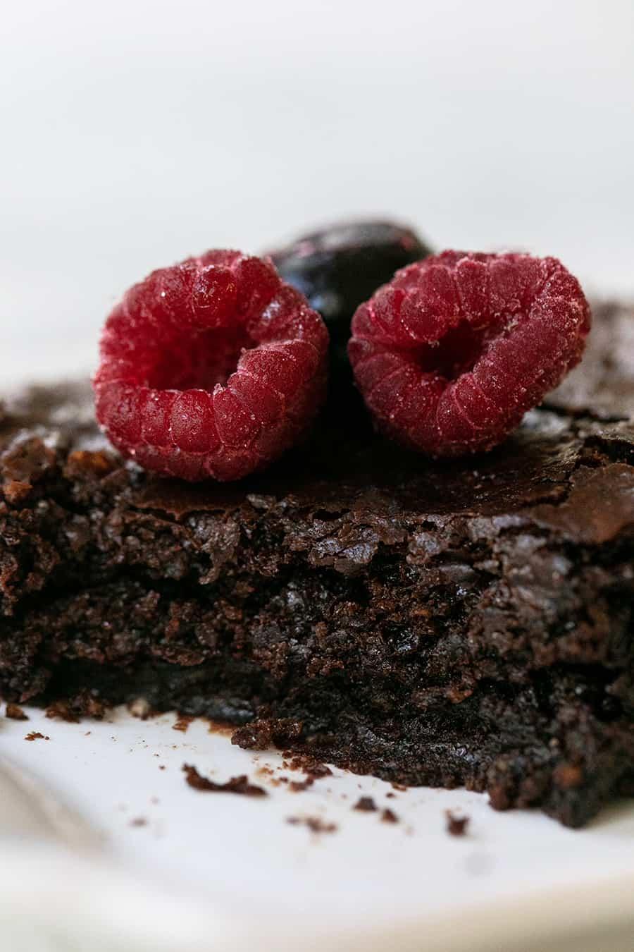 side shot of gluten free chocolate brownies
