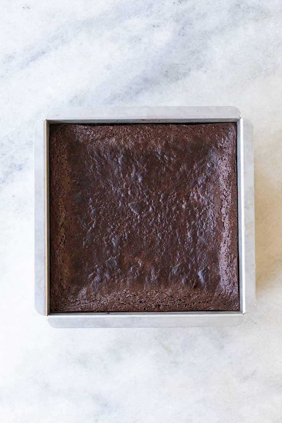 top down shot of gluten free chocolate brownies