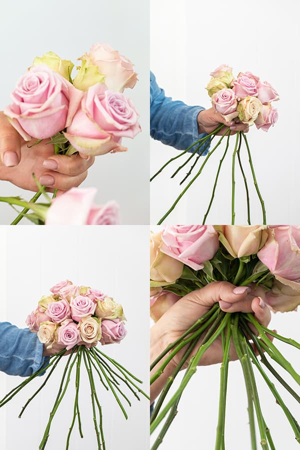 collage of how to make one of the rose arrangements - European hand tie