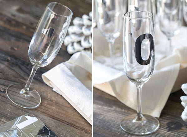 Adding silver numbers to champagne glasses