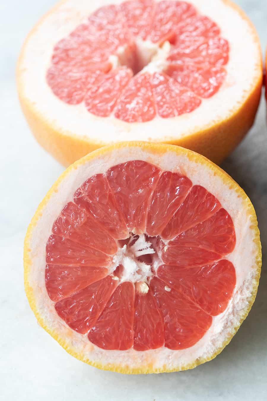 Fresh grapefruit cut in half