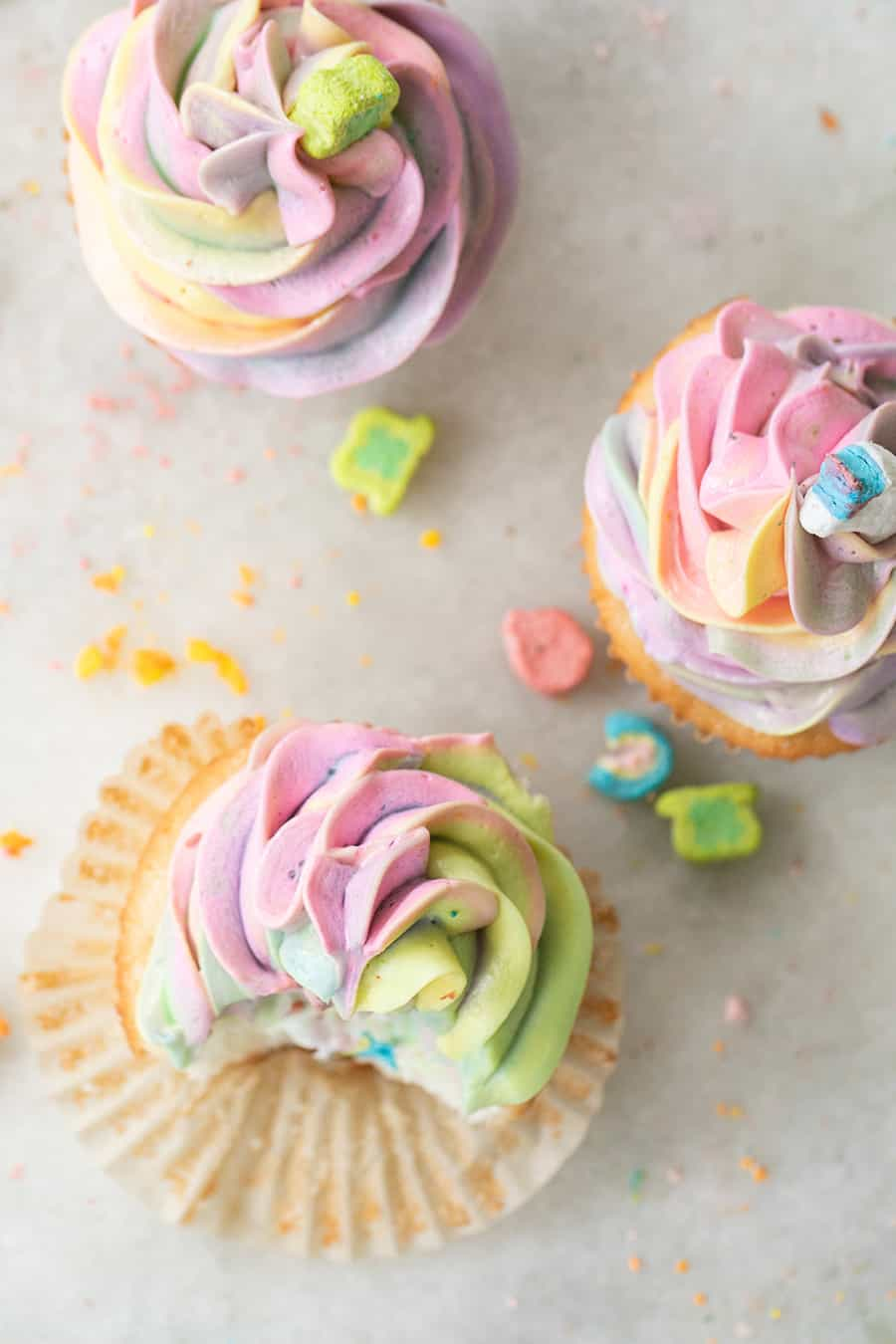 Colorful Lucky Charms Cupcakes with Rainbow Buttercream Frosting
