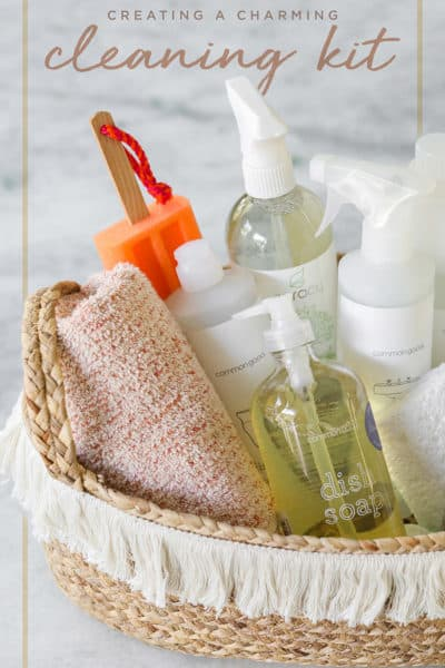 Home Cleaning kit with peach hand towel and basket from Target