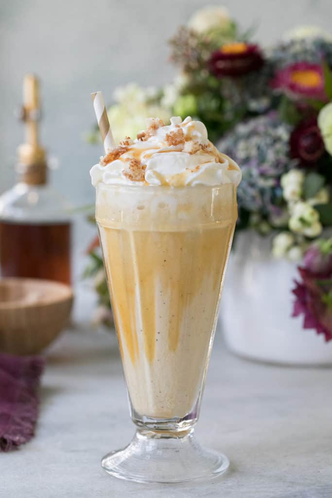 Caramel Coffee Milkshake with whipped cream and caramel.