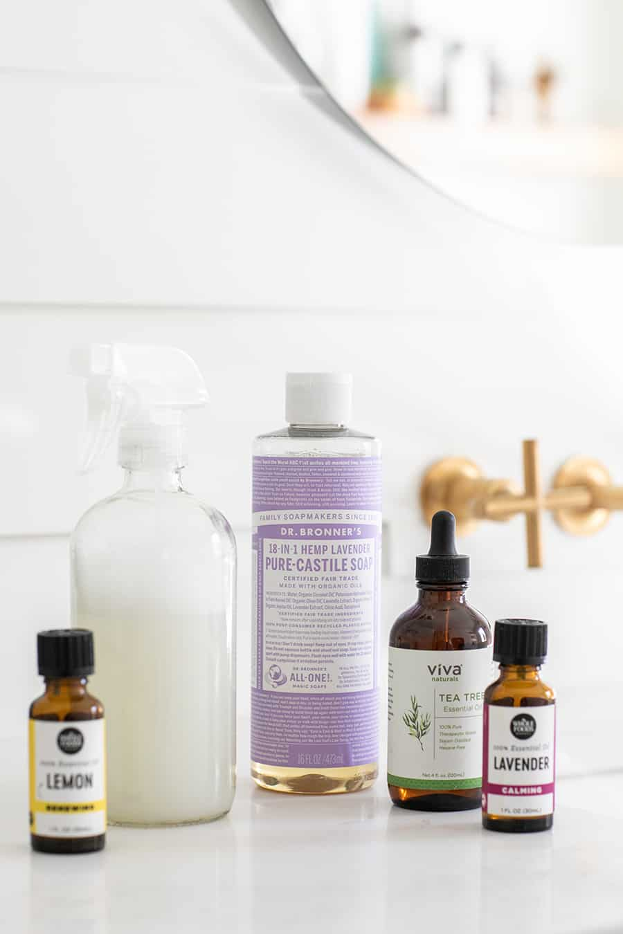 Castile Soap, Essential Oils, Spray Bottle to make Natural Cleaning Products