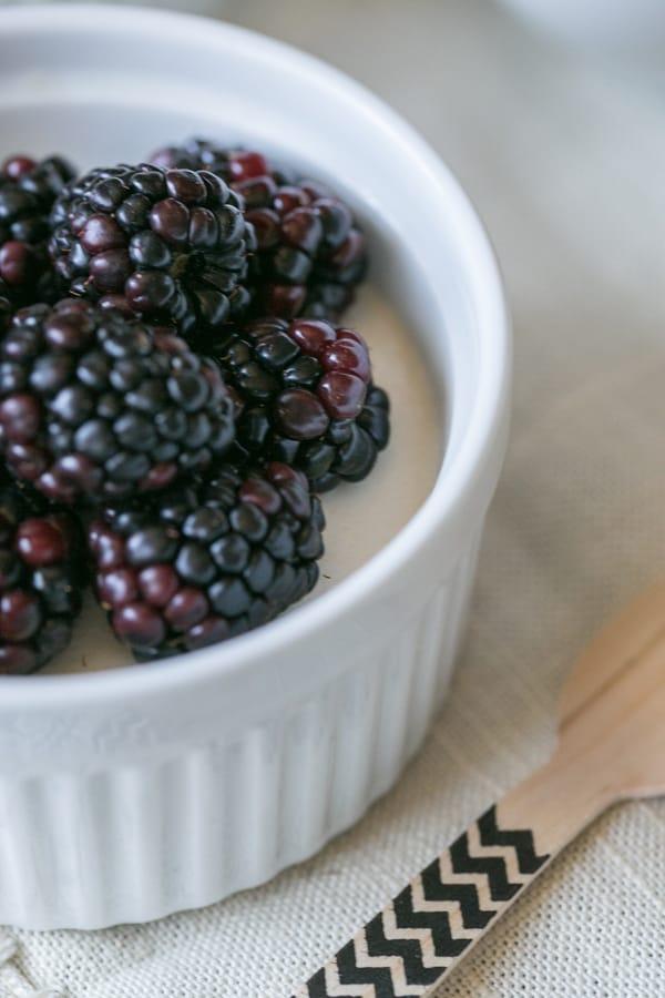 top down shot of blackberries in a bowl