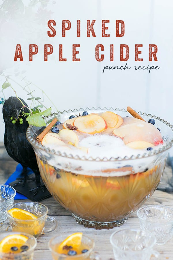 A bowl of spiked apple cider punch recipe with text overlay
