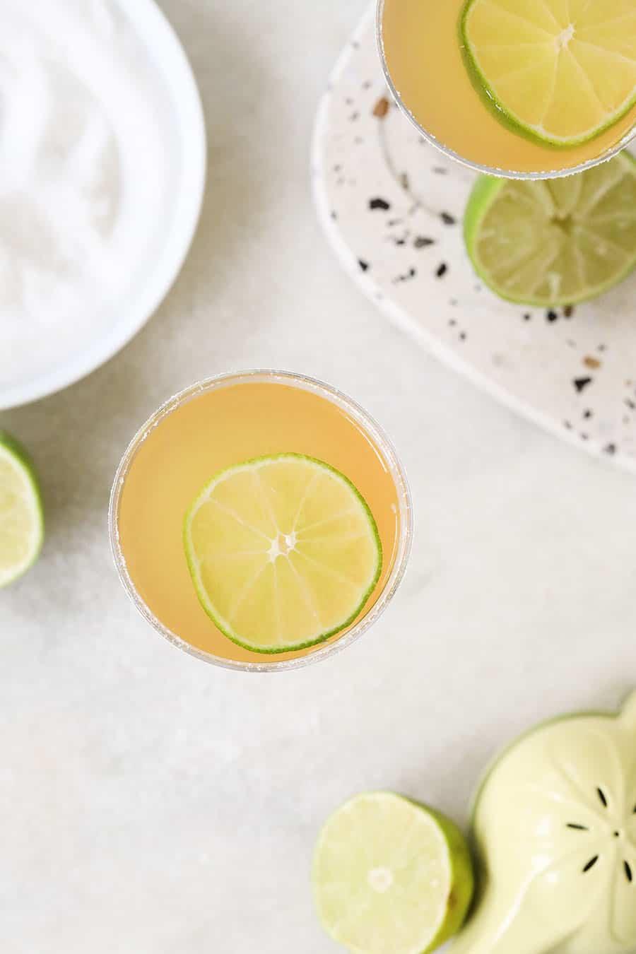Overhead of a delicious Three Ingredient Classic Daiquiris!