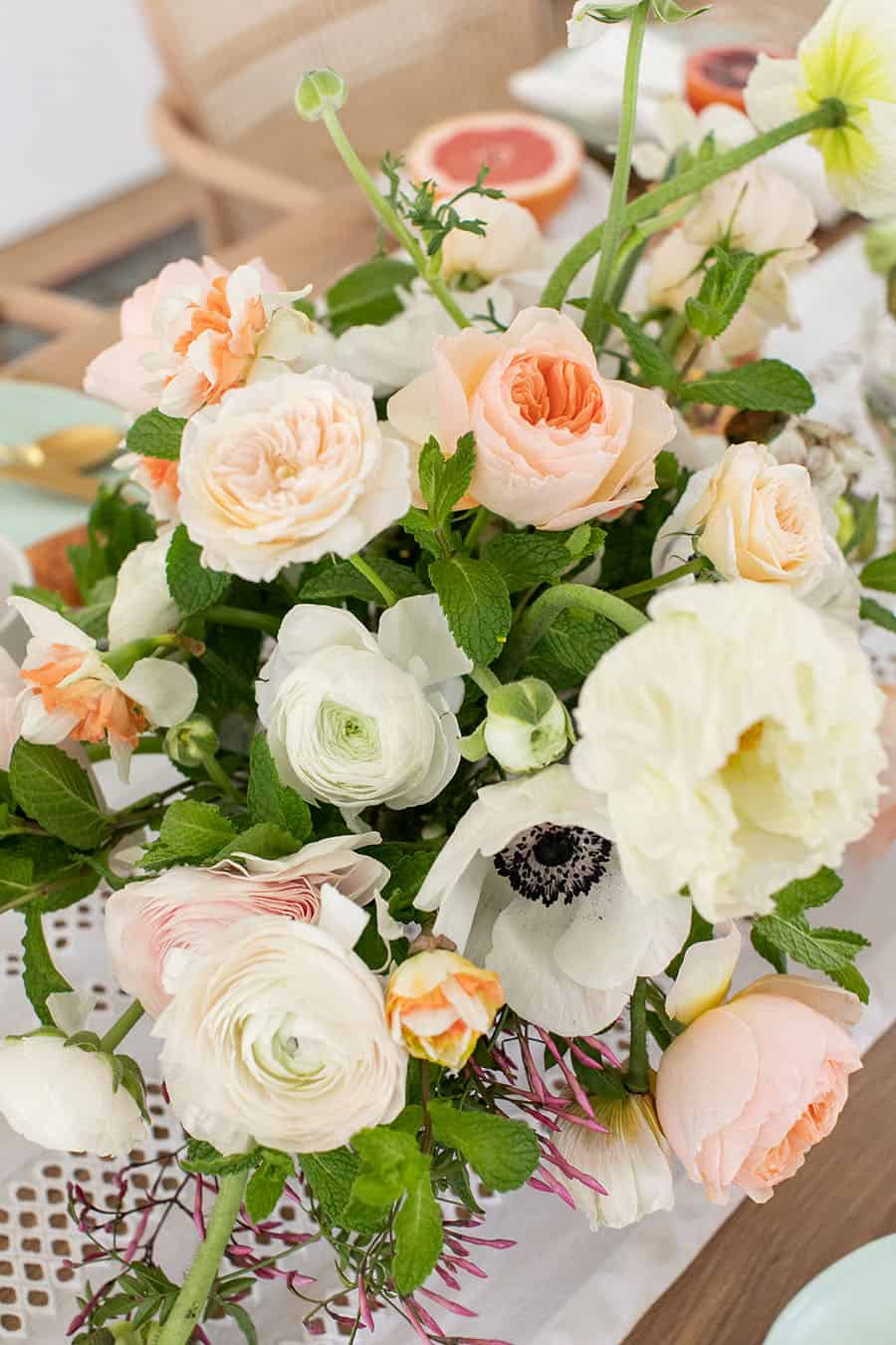 Flowers in a wooden table,