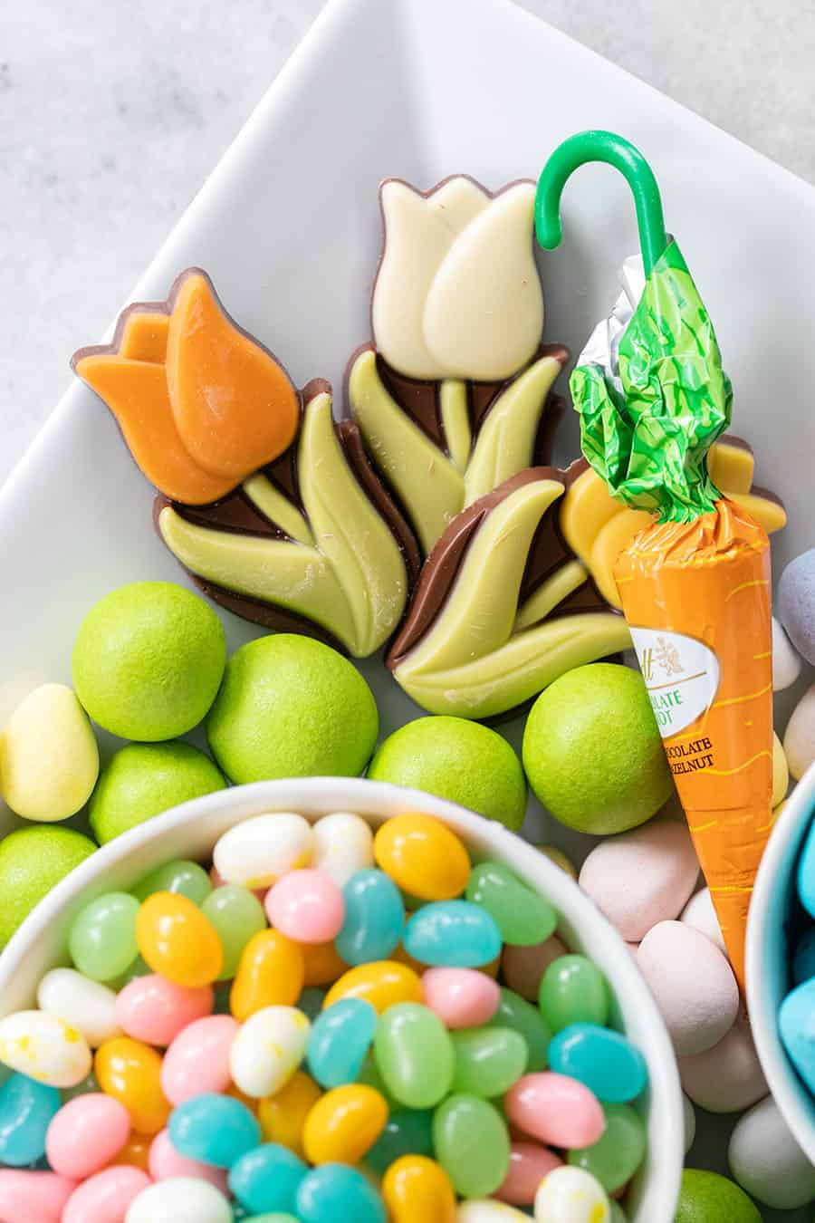 Easter candy on a tray