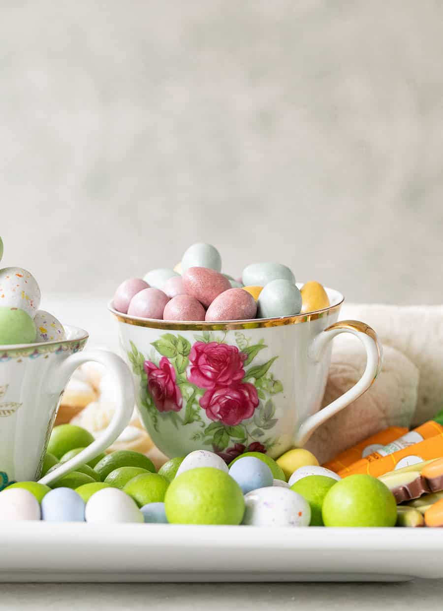 Tea cup full of easter eggs