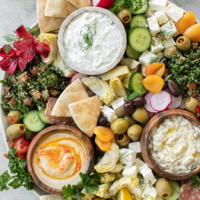 delicious greek mezze platter for a party