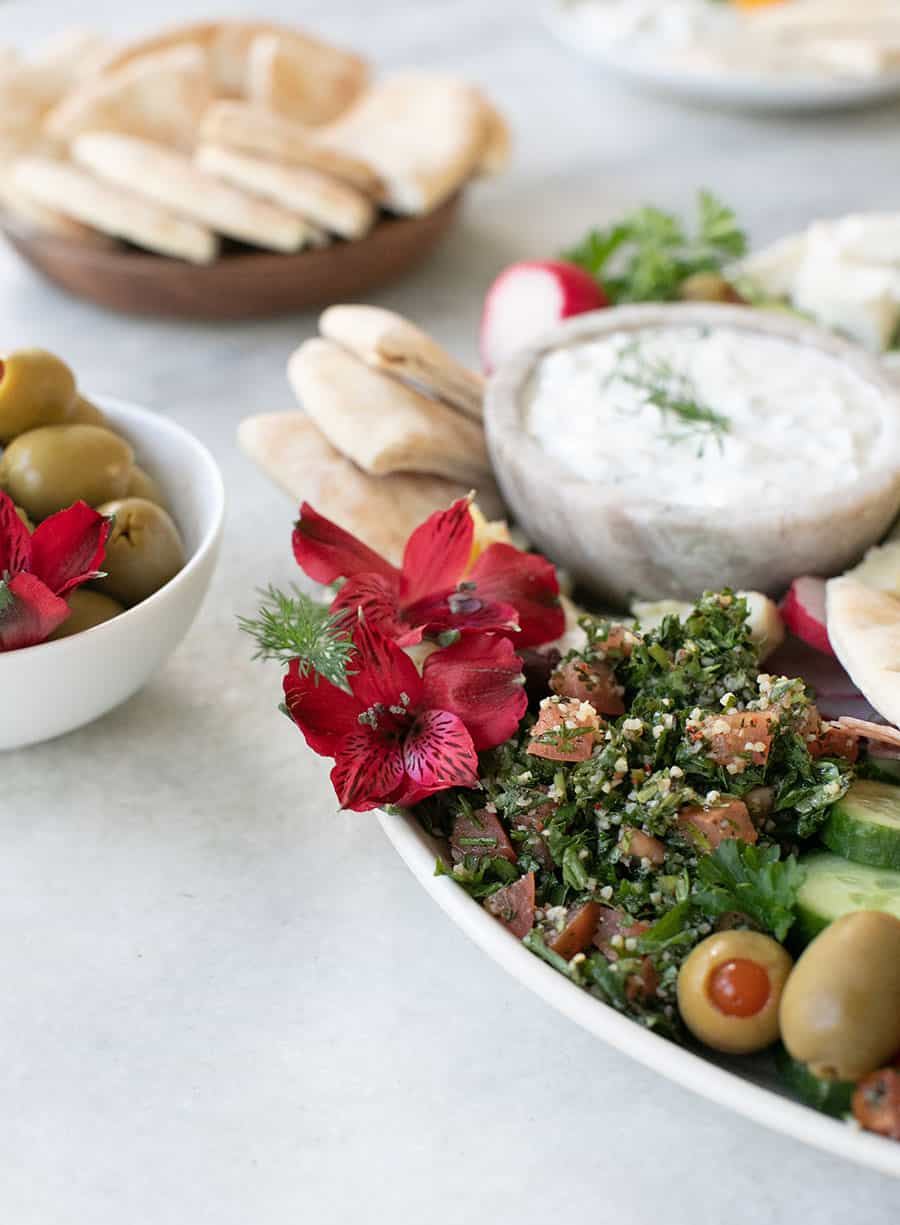 Easy Greek Mezze Platter with flowers and yogurt