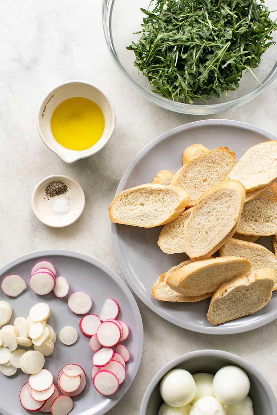 Ingredients to make a crostini recipe.