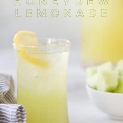 Honeydew Lemonade Recipe in Tall Glass with Lemon