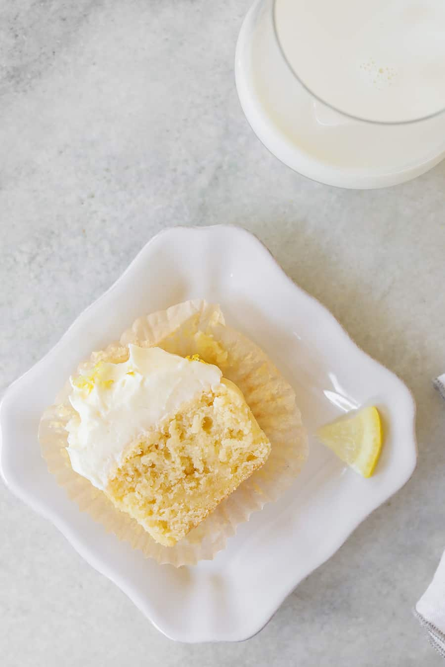 Slice of a lemon cupcake