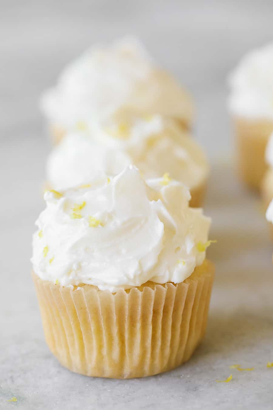 One Lemon Cupcake with Buttercream Meringue Frosting