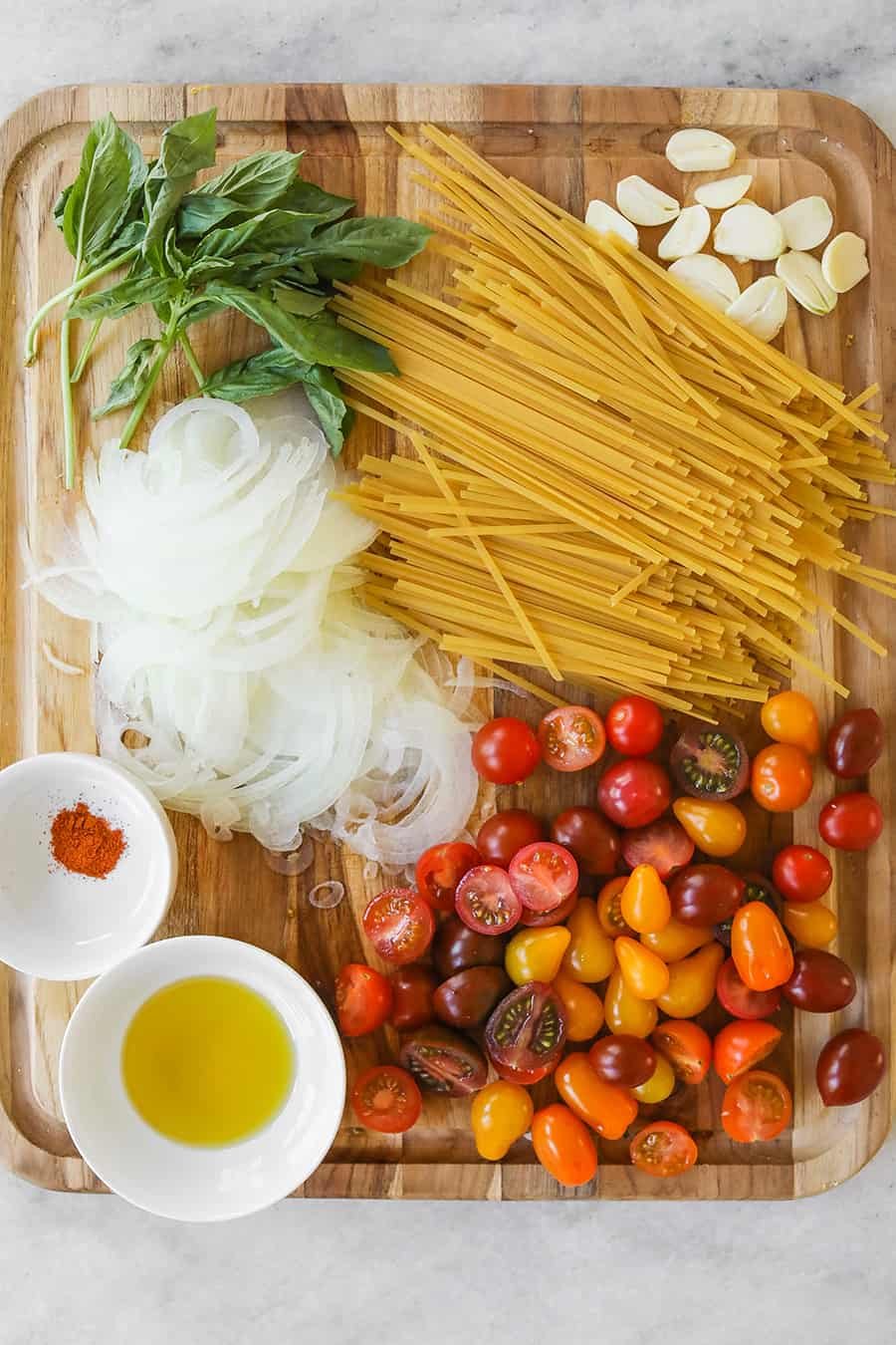 Ingredients for one pot pasta recipe