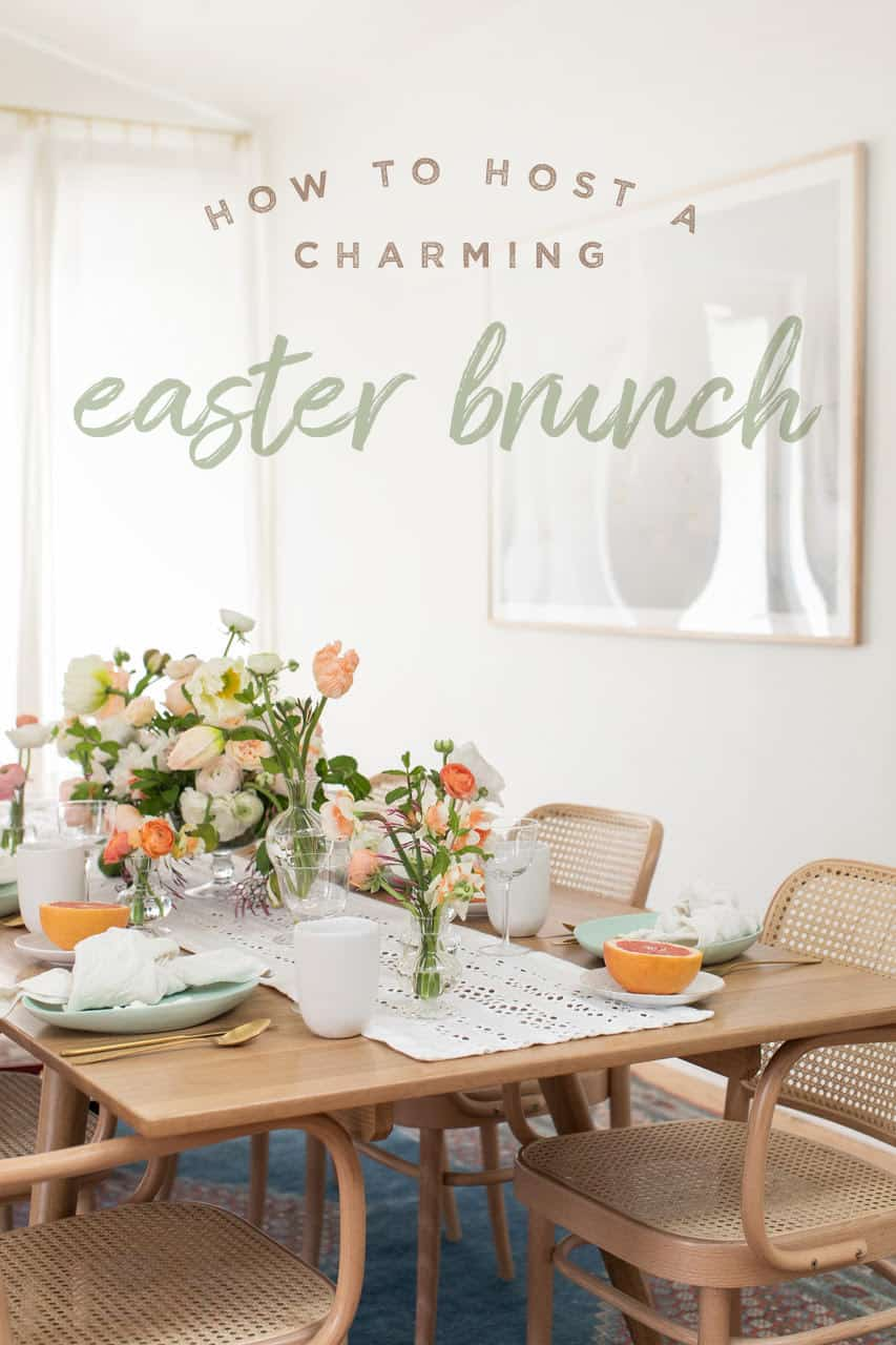 Table setting for Easter with a How to Host an Easter Brunch graphic over the photo.