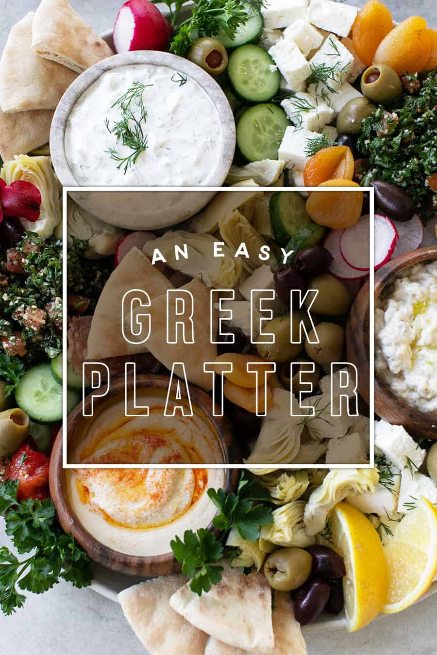Easy Greek Platter with Graphic.
