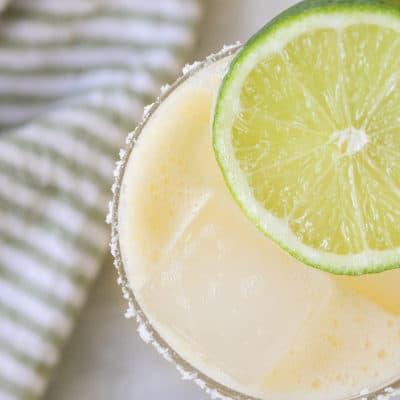 Close up photo of a skinny margarita recipe.