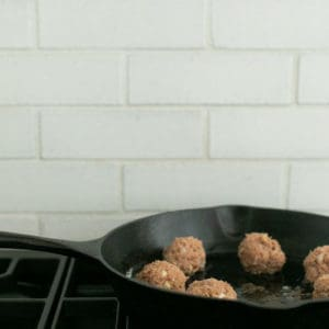 add meatballs to skillet