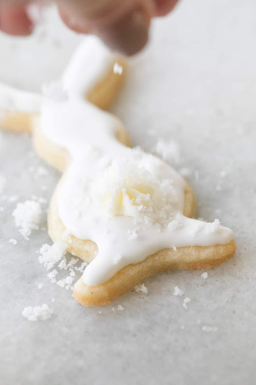 Sprinkling coconut onto an Easter cookie shaped like a bunny.