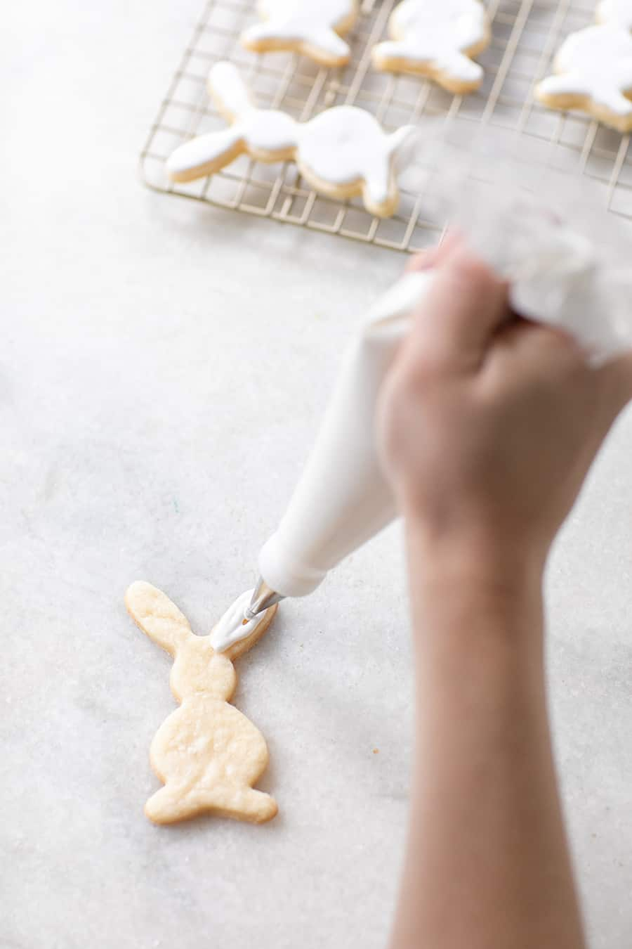 Hand frosting a bunny shaped Easter cookie.