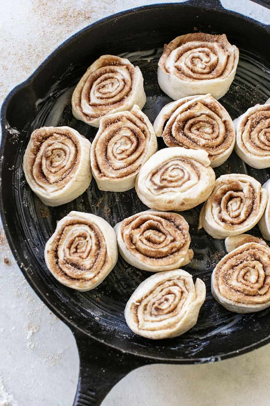 Cinnamon rolls in a cast iron skillet