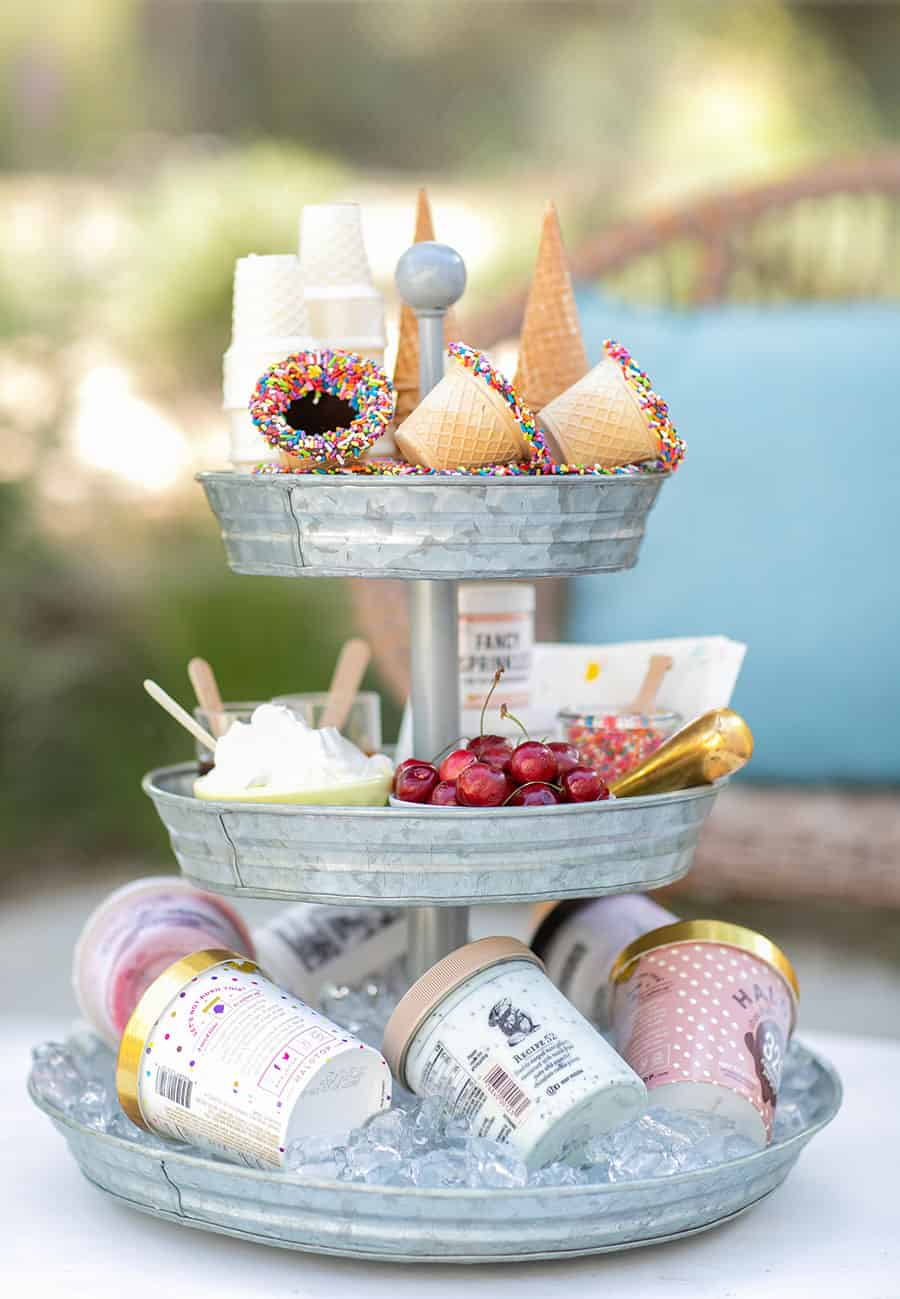 Tiered Galvanized Tray with ice cream cones, sprinkles, ice cream and cherries