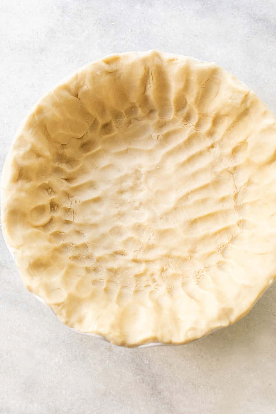 Shortbread cookie crust before it's baked.