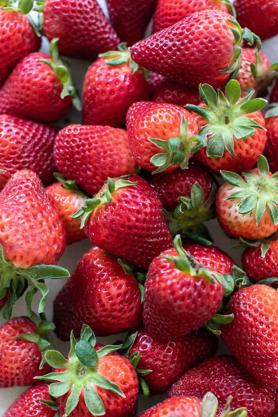 Close up photo of red strawberries