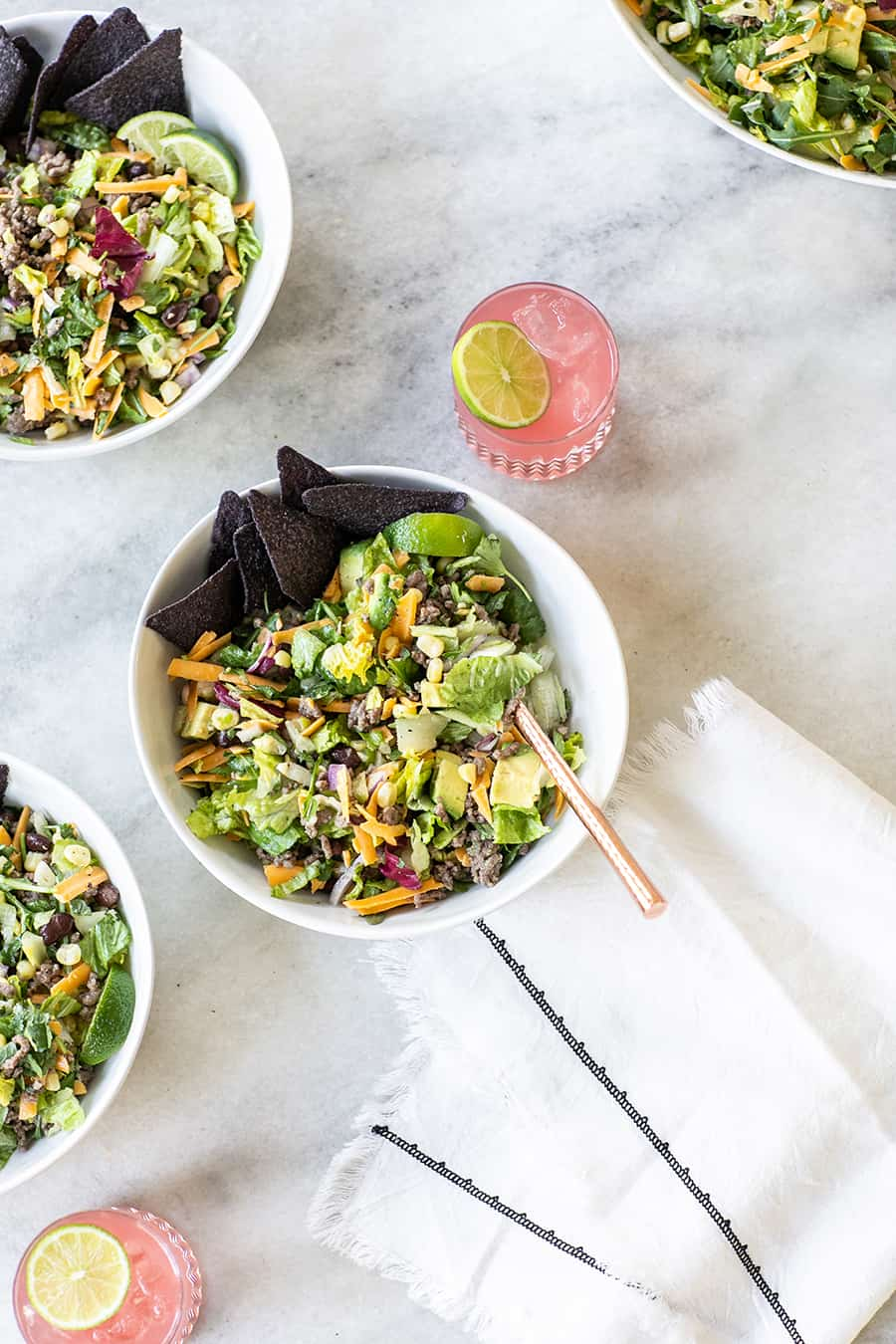 Taco salad bowls with margaritas