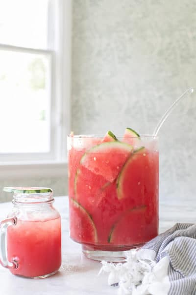 Watermelon Juice Cocktail Punch in a Punch Bowl