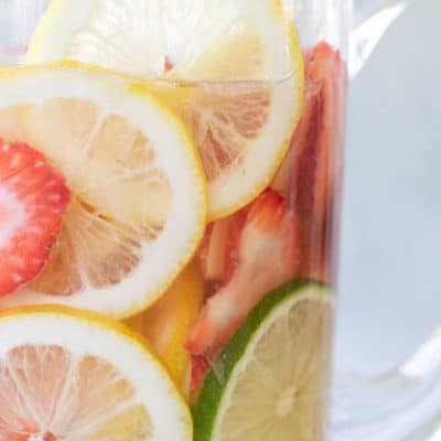 White sangria recipe in a pitcher