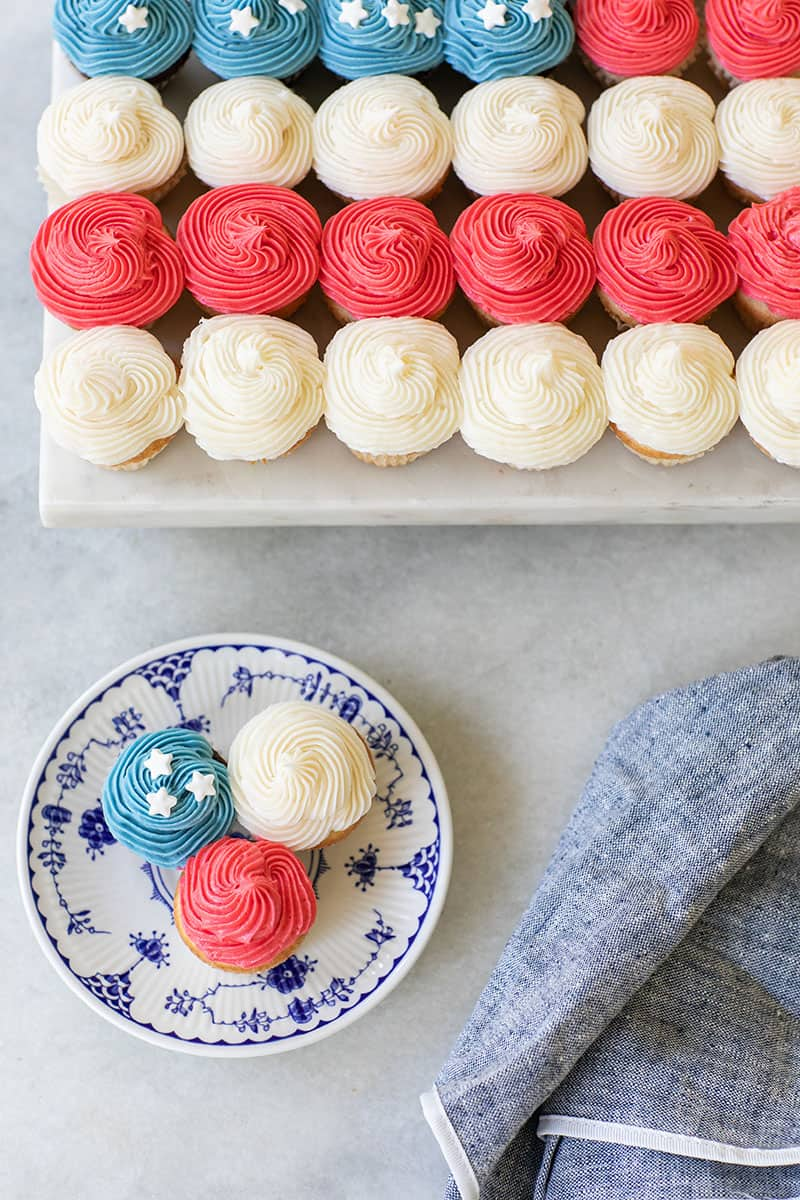 Red, white and blue cupcakes to make a flag cupcake cake.